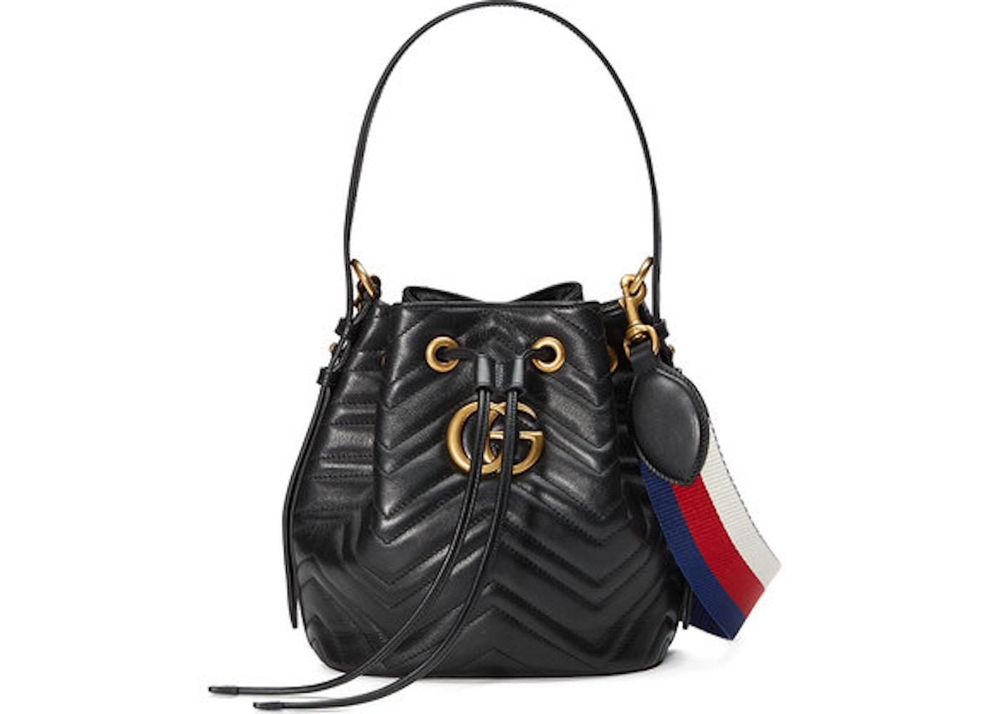 af8620b6cb5c Gucci Marmont Bucket Bag GG Matelasse Chevron Small Black