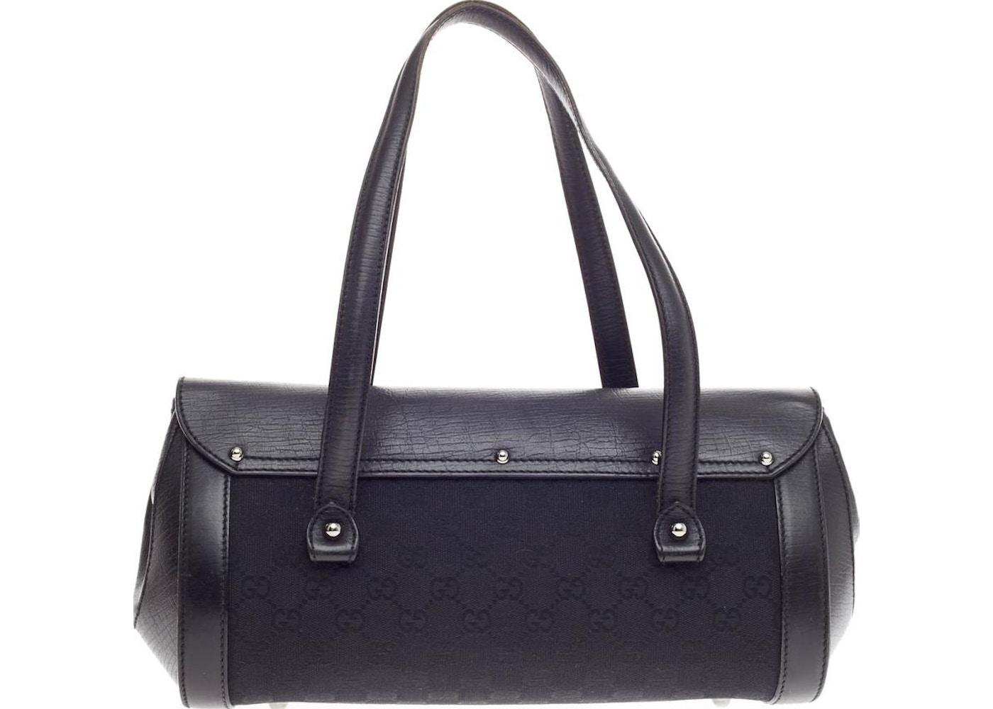 54f6979f91fc2 Gucci Bamboo Bullet Bag GG Monogram Canvas and Bamboo Details Medium Black