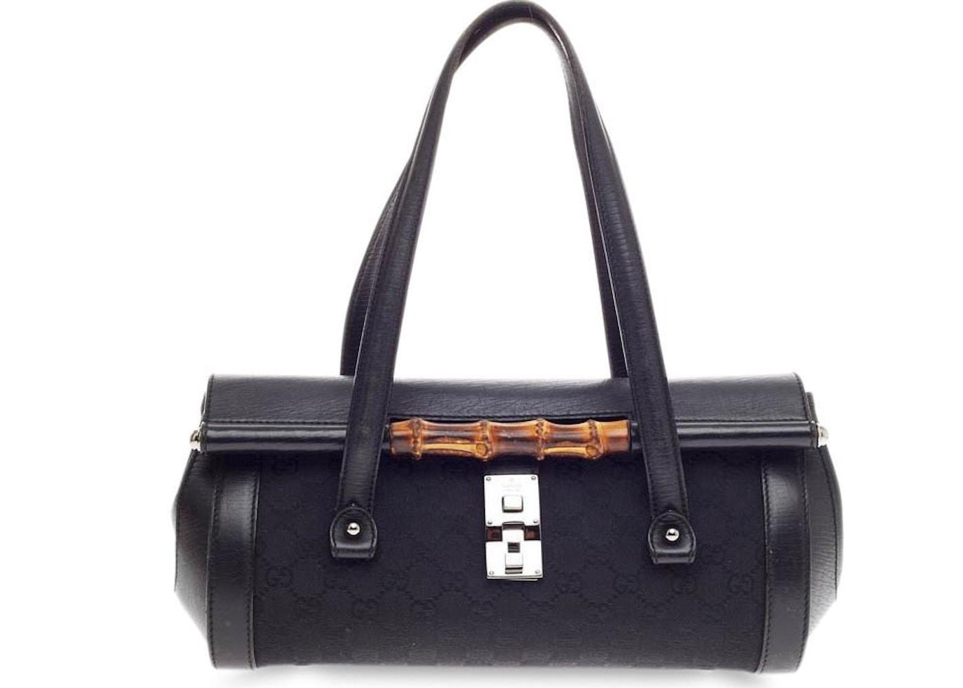 8753395eb5dedd Gucci Bamboo Bullet Bag GG Monogram Canvas and Bamboo Details ...