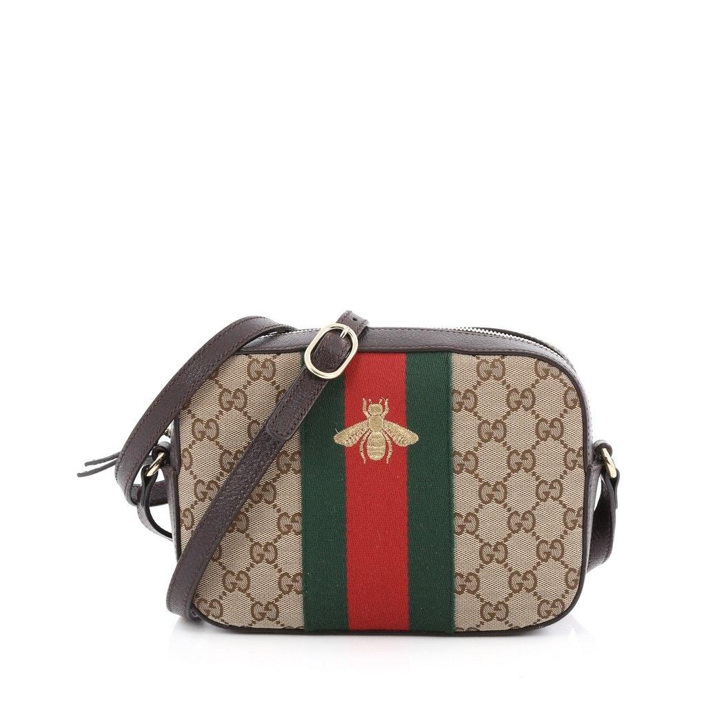 Gucci Camera Bag Crossbody GG Bee Web Brown