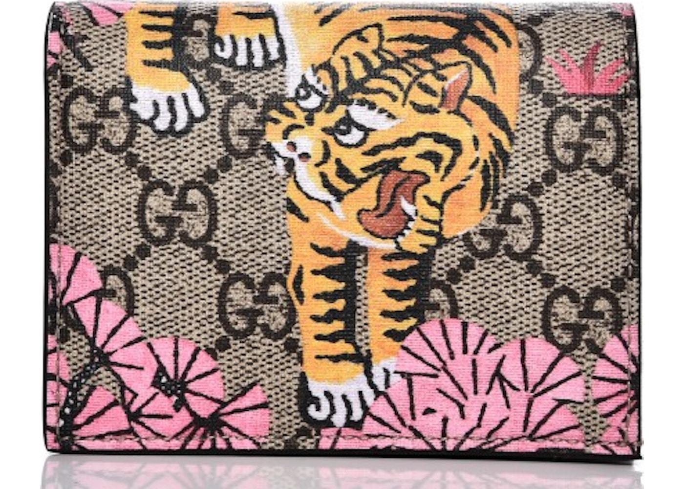 86329d2ae2a Gucci Card Case Wallet Monogram GG Bengal Print Black Beige ...