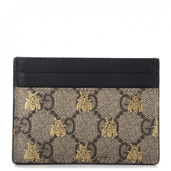 Gucci Card Case GG Supreme Bee Print Beige