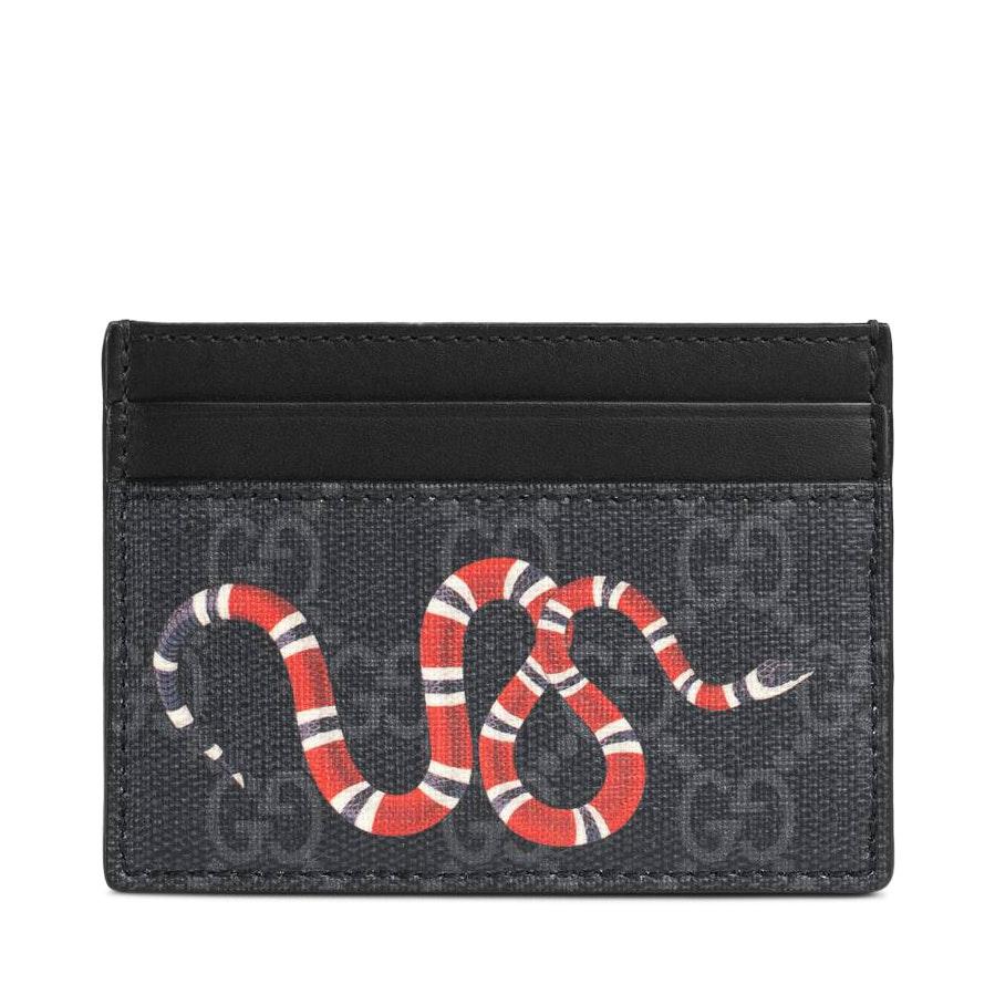 Gucci Card Case GG Supreme Kingsnake Print Black/Grey