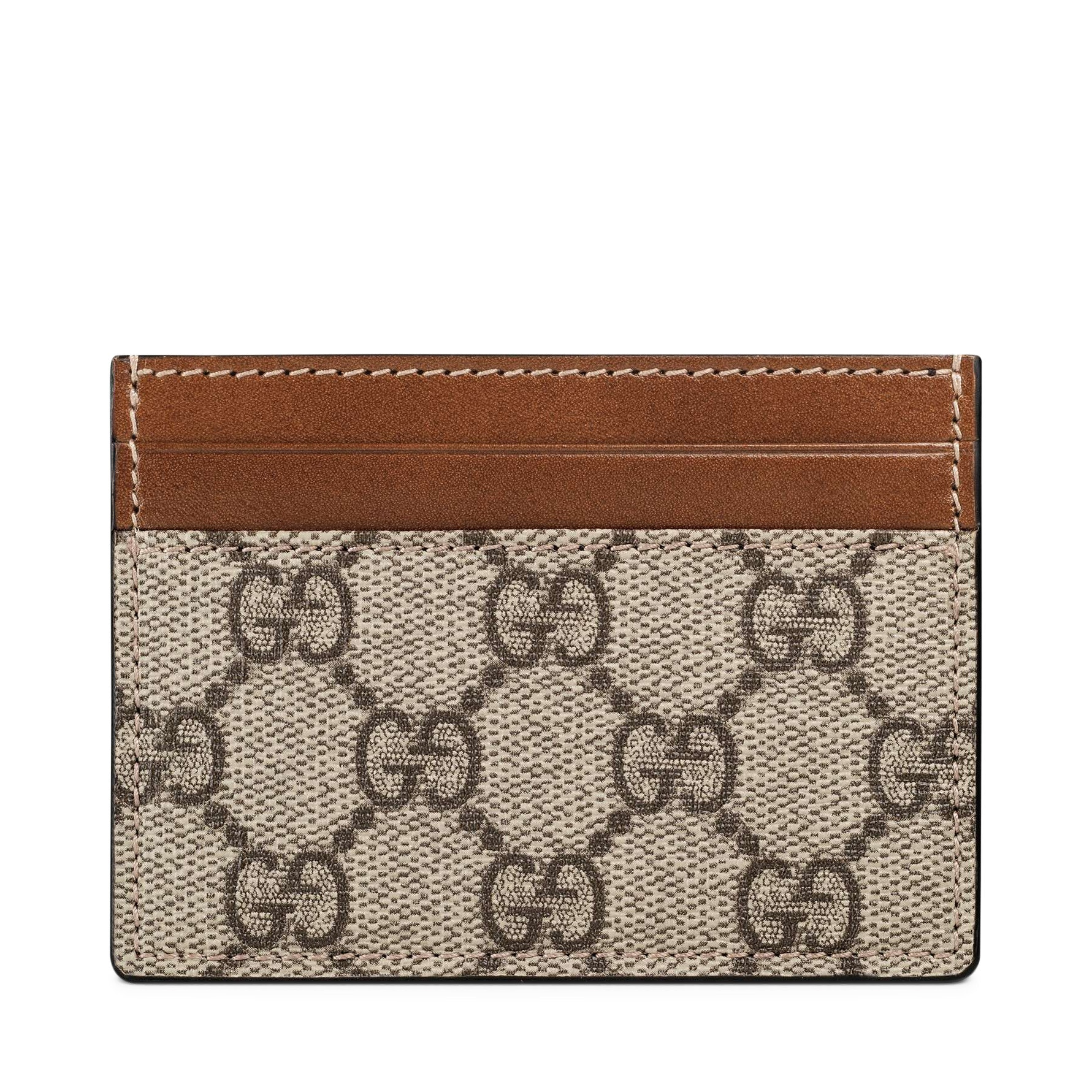 Gucci Card Case GG Supreme Mini Beige/Ebony Light Brown