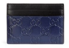 Gucci Card Case Guccissima Blue Black