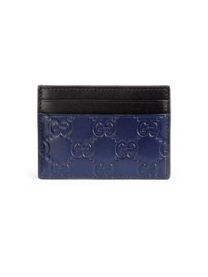 Gucci Card Case Guccissima Blue Black