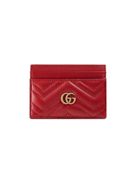 Gucci Marmont Card Case Monogram Matelasse GG Hibiscus Red