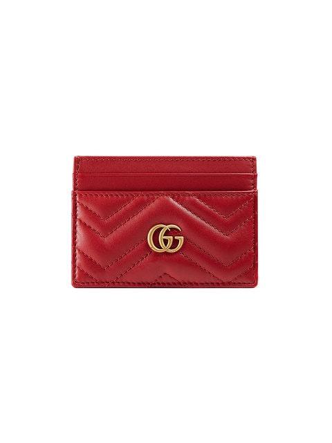 Gucci Marmont Card Case Monogram Matelasse GG Hibiscus Red