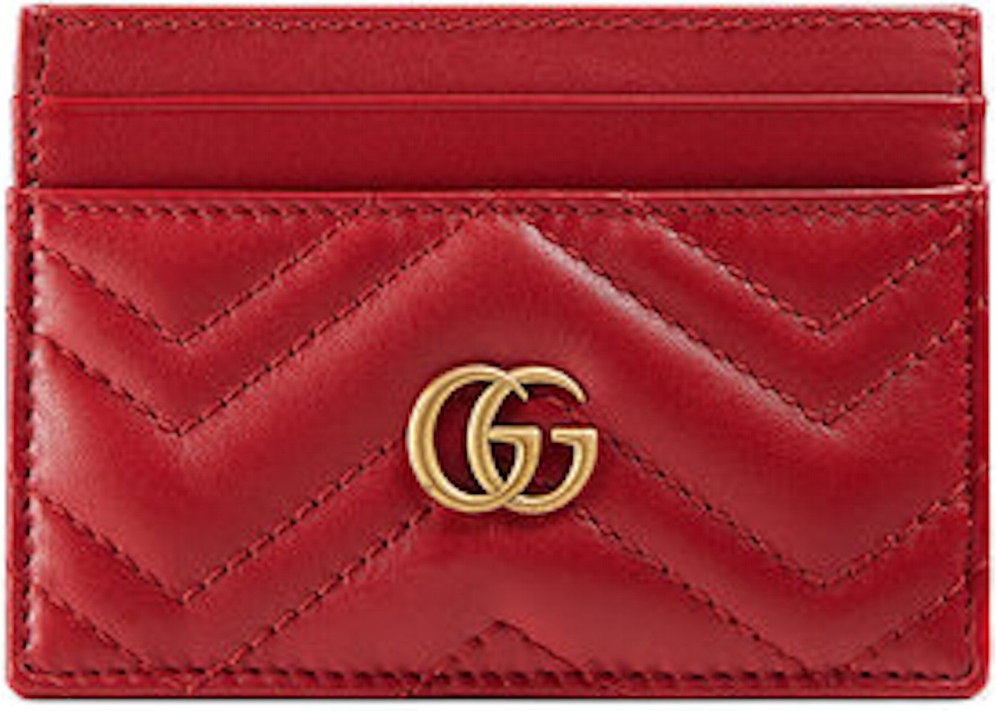separation shoes 1c33b f21a6 Gucci Marmont Card Case Monogram Matelasse GG Hibiscus Red