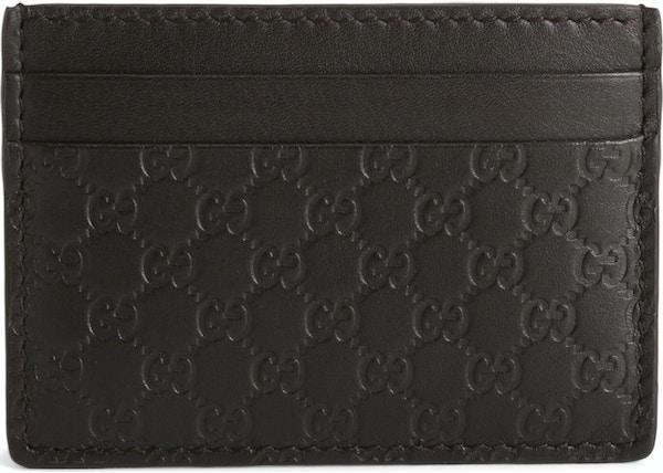 566831ab69c8 Gucci Card Case Microguccissima Black