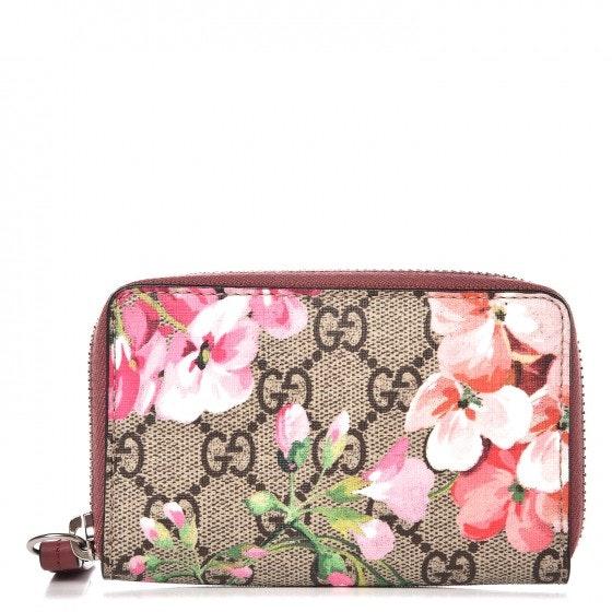 Gucci Card Case Monogram GG Supreme Blooms Antique Rose