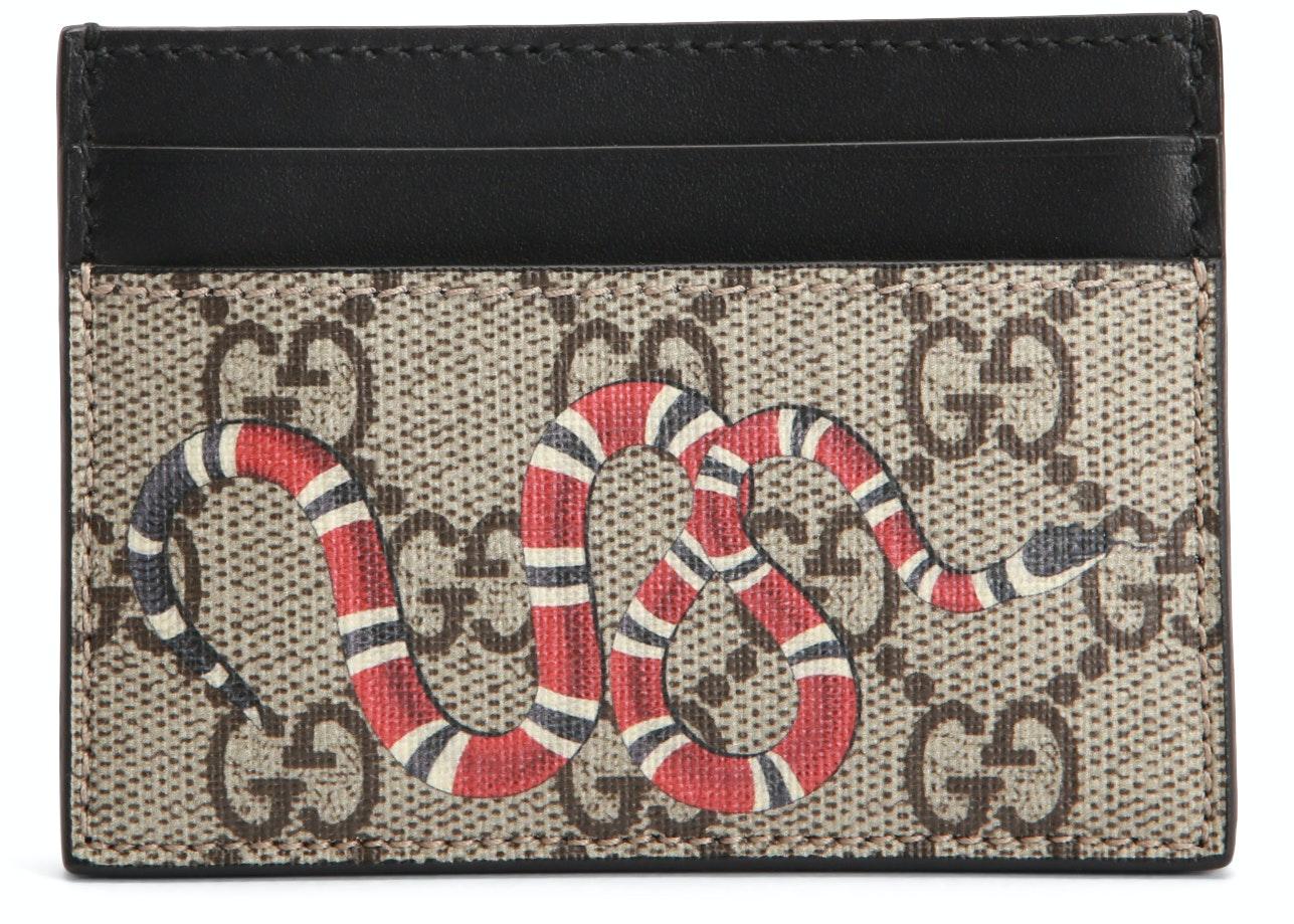 Gucci Card Case GG Supreme Kingsnake Print Beige/Ebony
