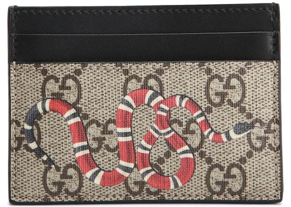 7ccfade8767 Gucci Card Case GG Supreme Kingsnake Print Beige Ebony