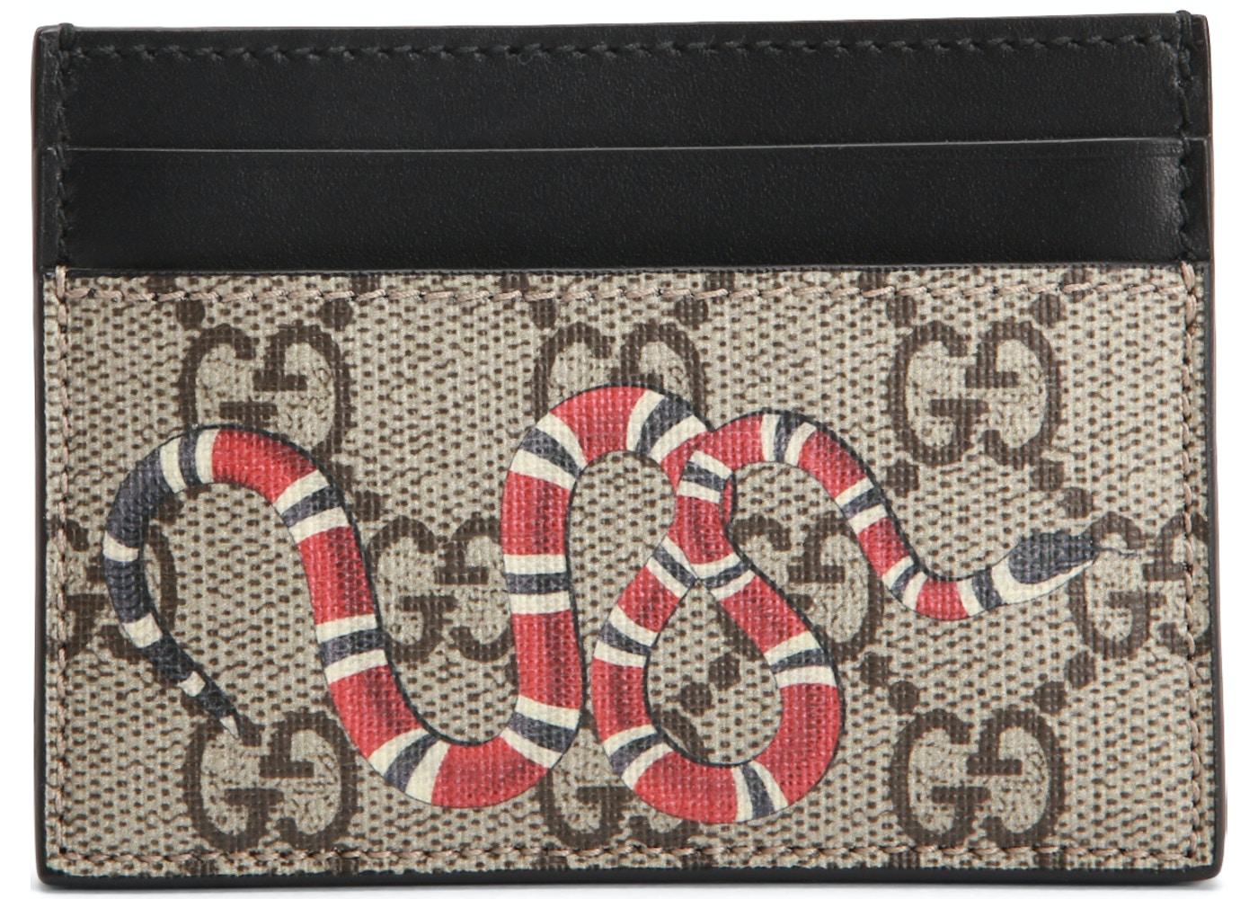 a90c19b208161a Gucci Card Case GG Supreme Kingsnake Print Beige/Ebony. GG Supreme  Kingsnake Print Beige/Ebony