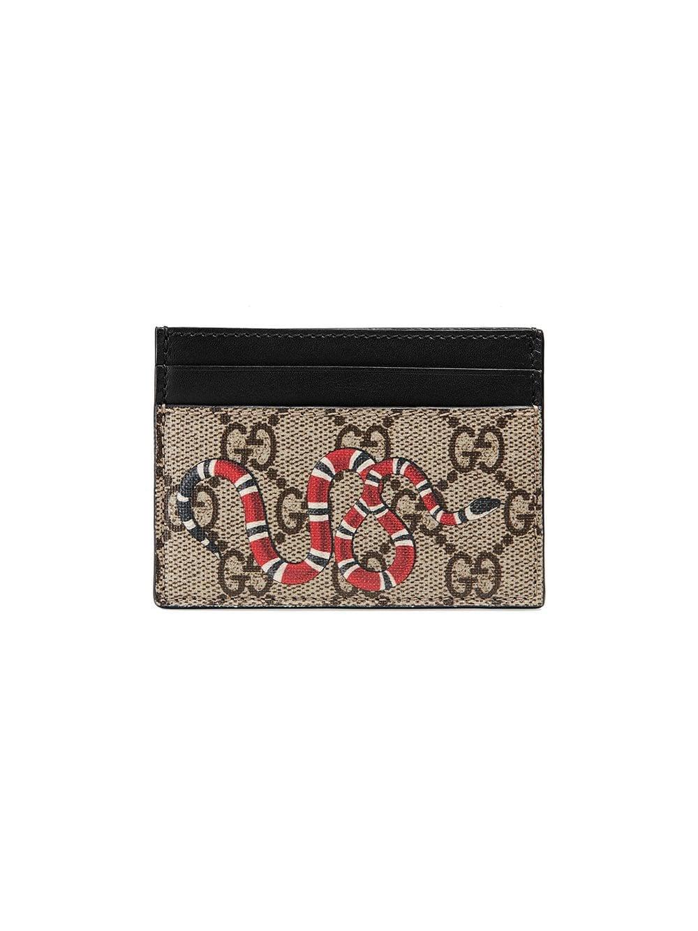 Gucci Card Case Monogram GG Supreme Kingsnake Print Beige/Ebony