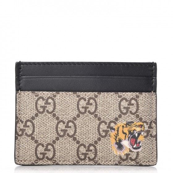 Gucci Card Case Monogram GG Tiger Print Black/Beige