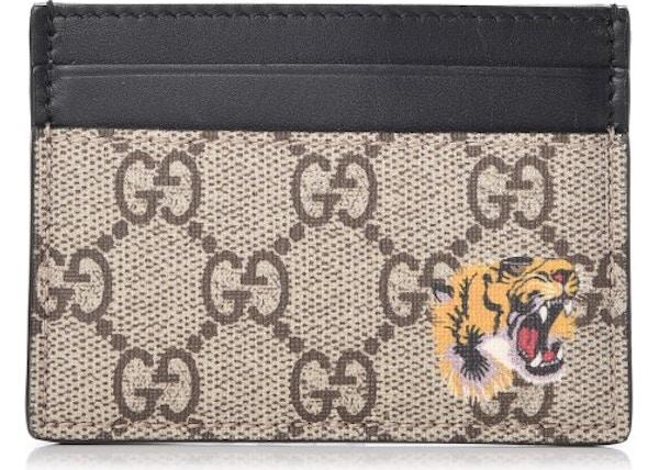 b76d2095d04e89 Gucci Card Case Monogram GG Tiger Print Black/Beige