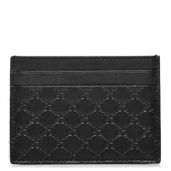 Gucci Card Case Monogram Microguccissima Embossed Black