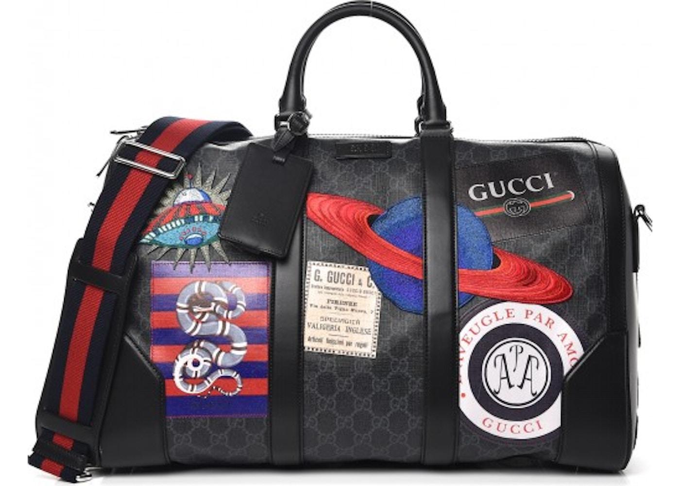 71ca6fdacc1 Gucci Carry On Duffle Monogram GG Supreme Night Courrier Black