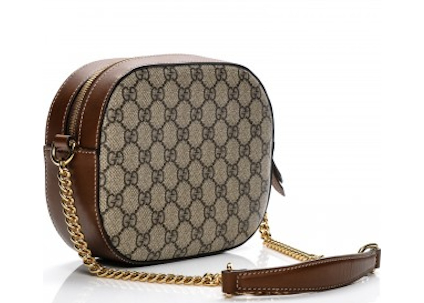 6b2fbd0be03 Gucci Chain Crossbody GG Supreme Monogram Embroidered Blind For Love Mini  Brown White