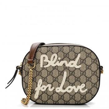 Gucci Chain Crossbody GG Supreme Monogram Emboidered Blind For Love Mini Brown/White