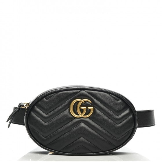 Gucci Marmont Belt Bag Matellase GG Logo Black