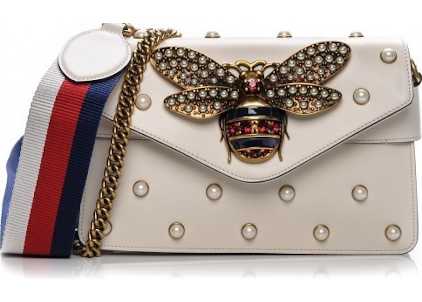 be12c04e514 Gucci Broadway Bee Chain Clutch Embellished White