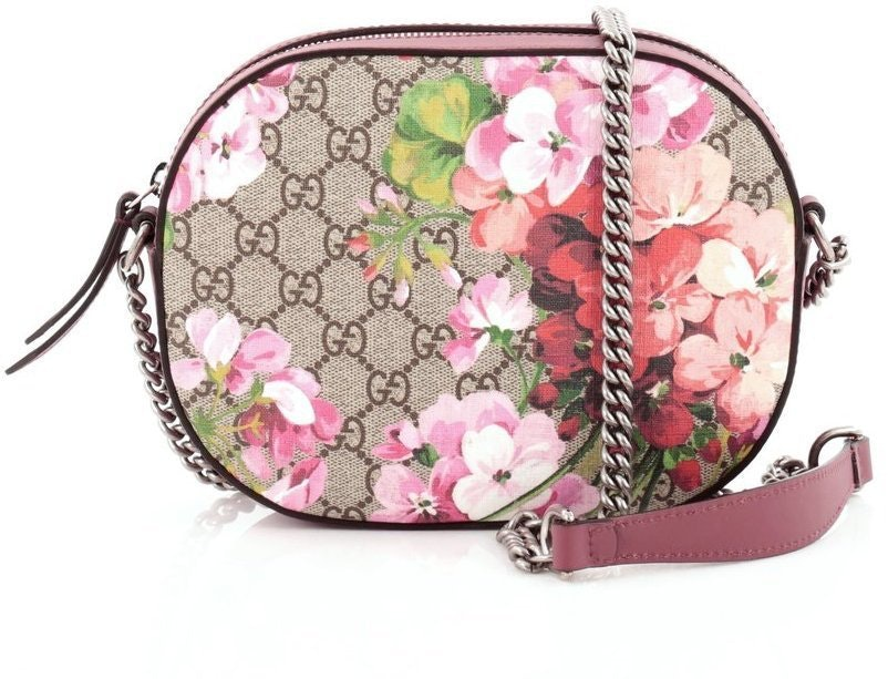 Gucci Chain Crossbody GG Supreme Blooms Mini Brown/Pink