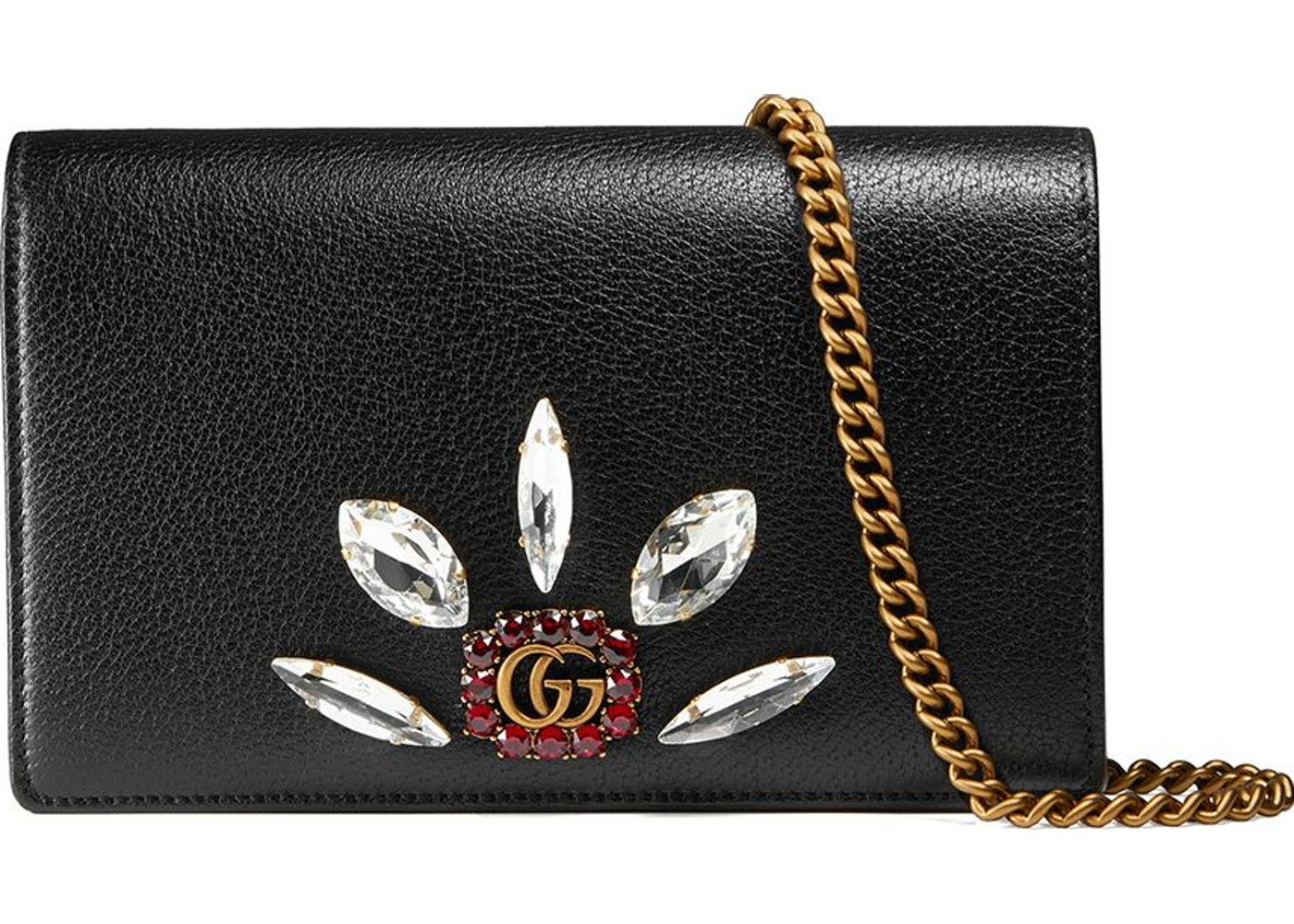 abeed801c96 Gucci Chain Crossbody Leather Crystals Mini Black. Leather Crystals Mini  Black