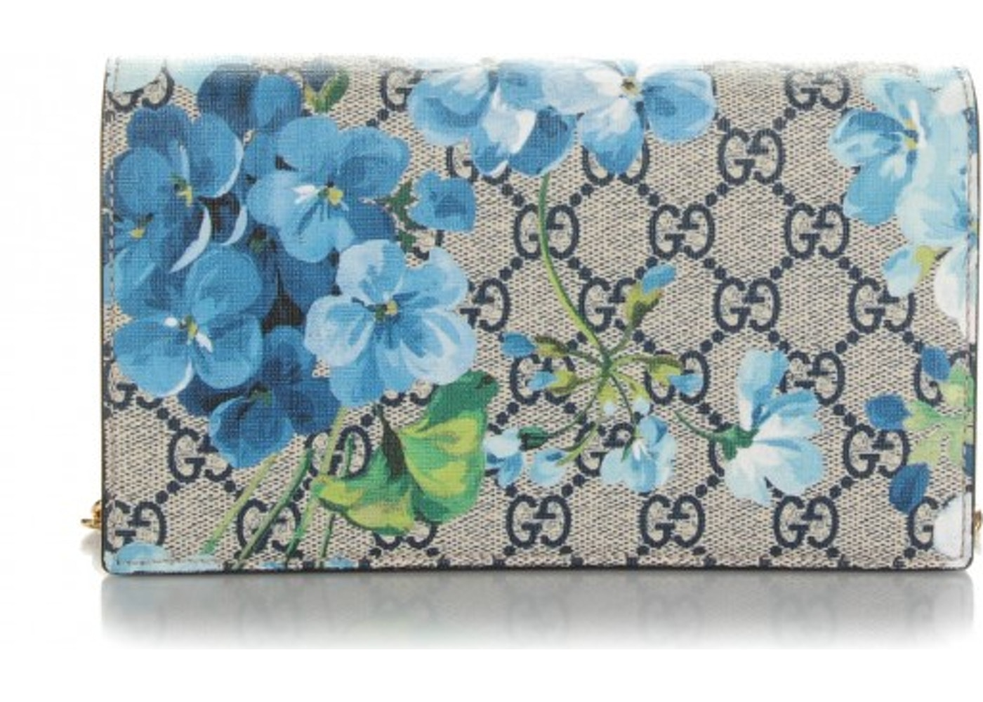f55cad6f1bf917 Gucci Chain Wallet Blue Blooms Canvas Beige/Ebony. Blue Blooms Canvas  Beige/Ebony