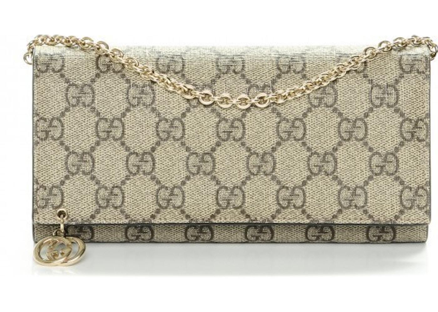 c200d218a28c Gucci Chain Wallet Clutch Monogram GG Beige. Monogram GG Beige