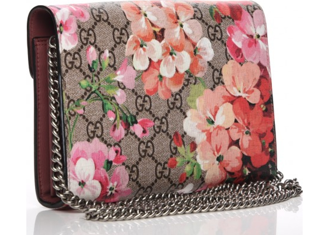 c73c60476fbd Gucci Dionysus Chain Wallet GG Supreme Blooms Mini Antique Rose