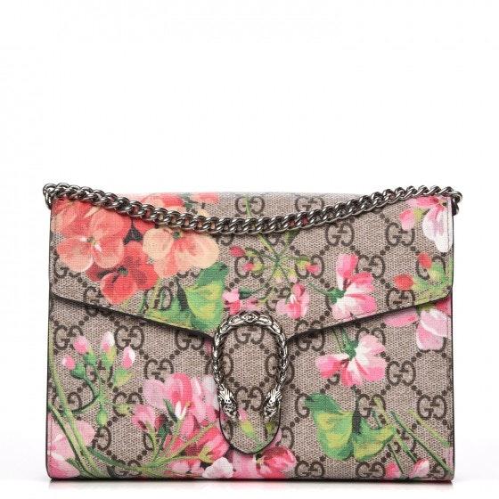 Gucci Dionysus Chain Wallet GG Supreme Blooms Mini Beige/Pink