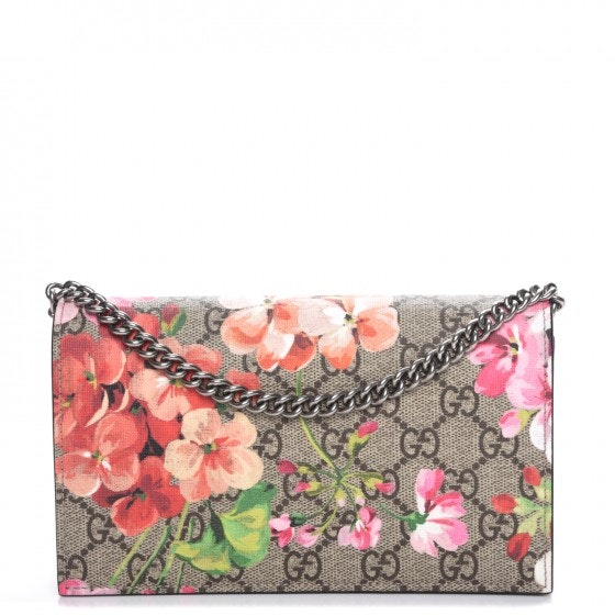 Gucci Chain Wallet Monogram GG Supreme Blooms Antique Rose