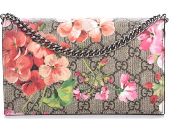 bb6dfb2b0ec1 Gucci Chain Wallet Monogram GG Supreme Blooms Antique Rose
