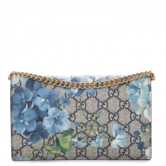 Gucci Chain Wallet Monogram GG Supreme Blooms Blue
