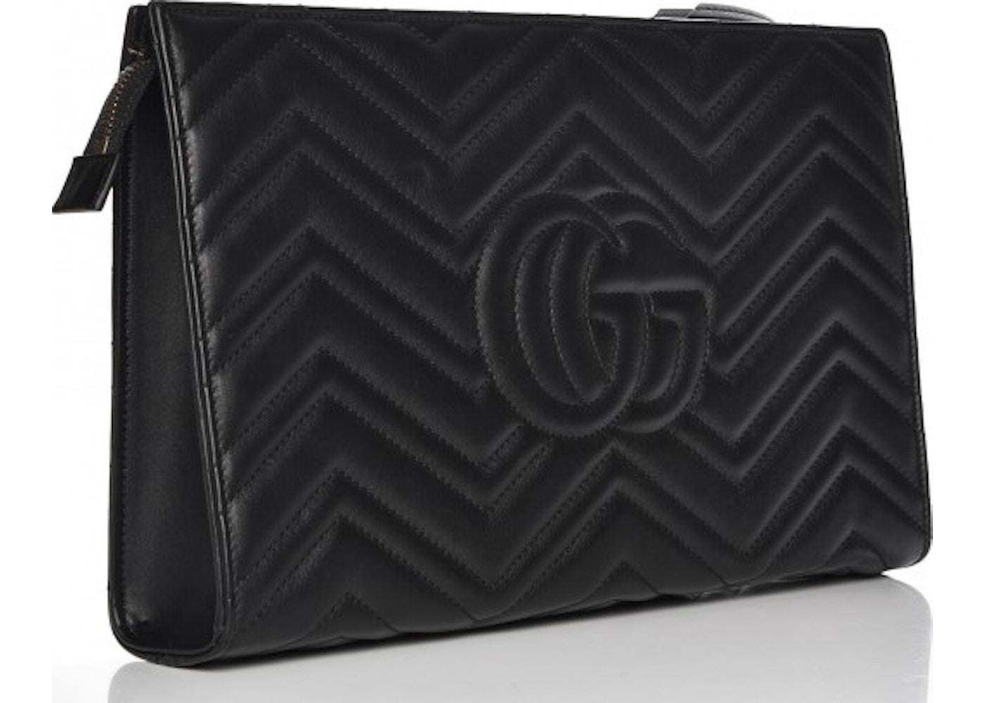 7292355077a Gucci Marmont Clutch Matelasse GG Black