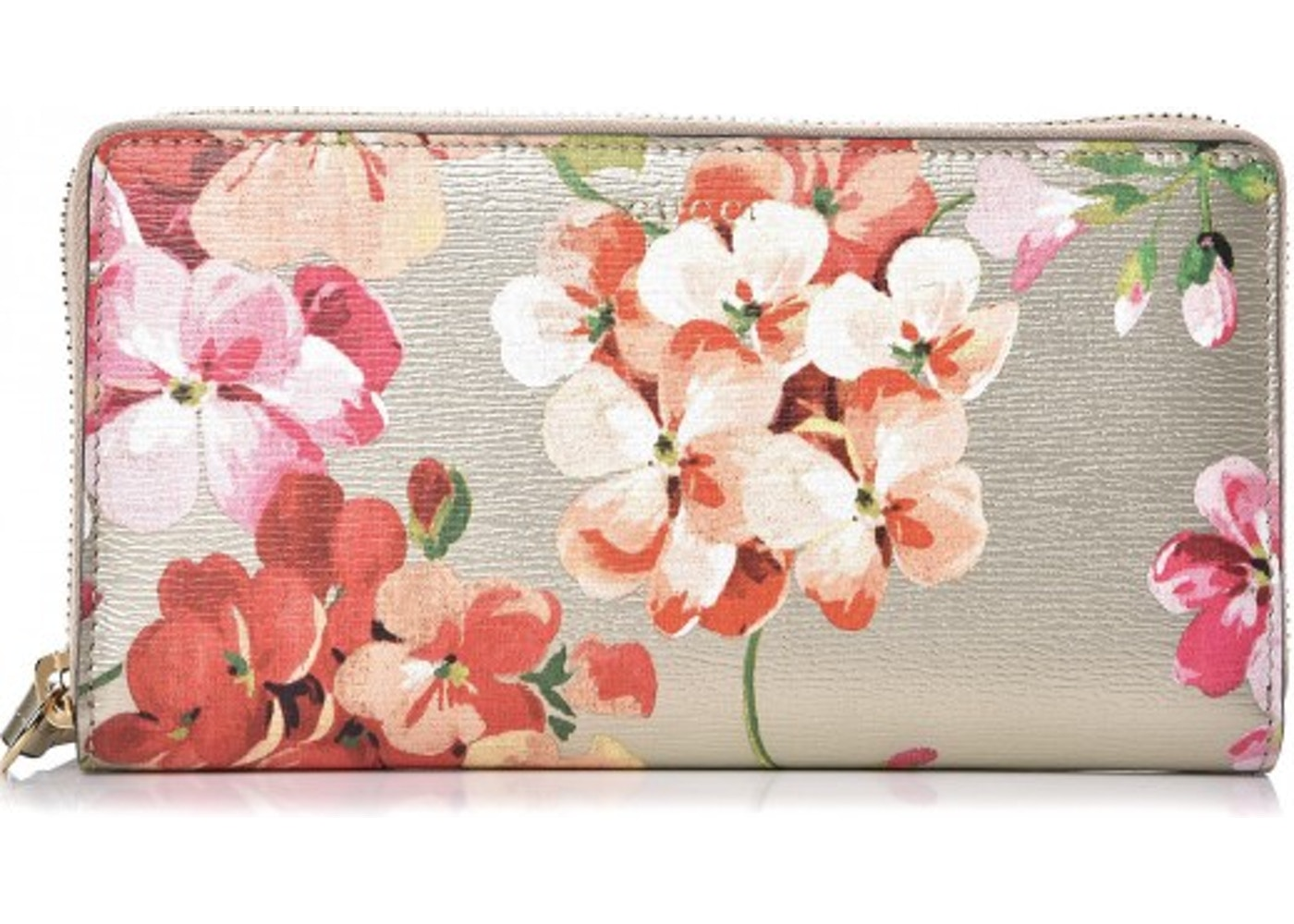 5f39400038fc37 Gucci Clutch Wallet Zip Around Blooms Print Multicolor Gold. Blooms Print  Multicolor Gold