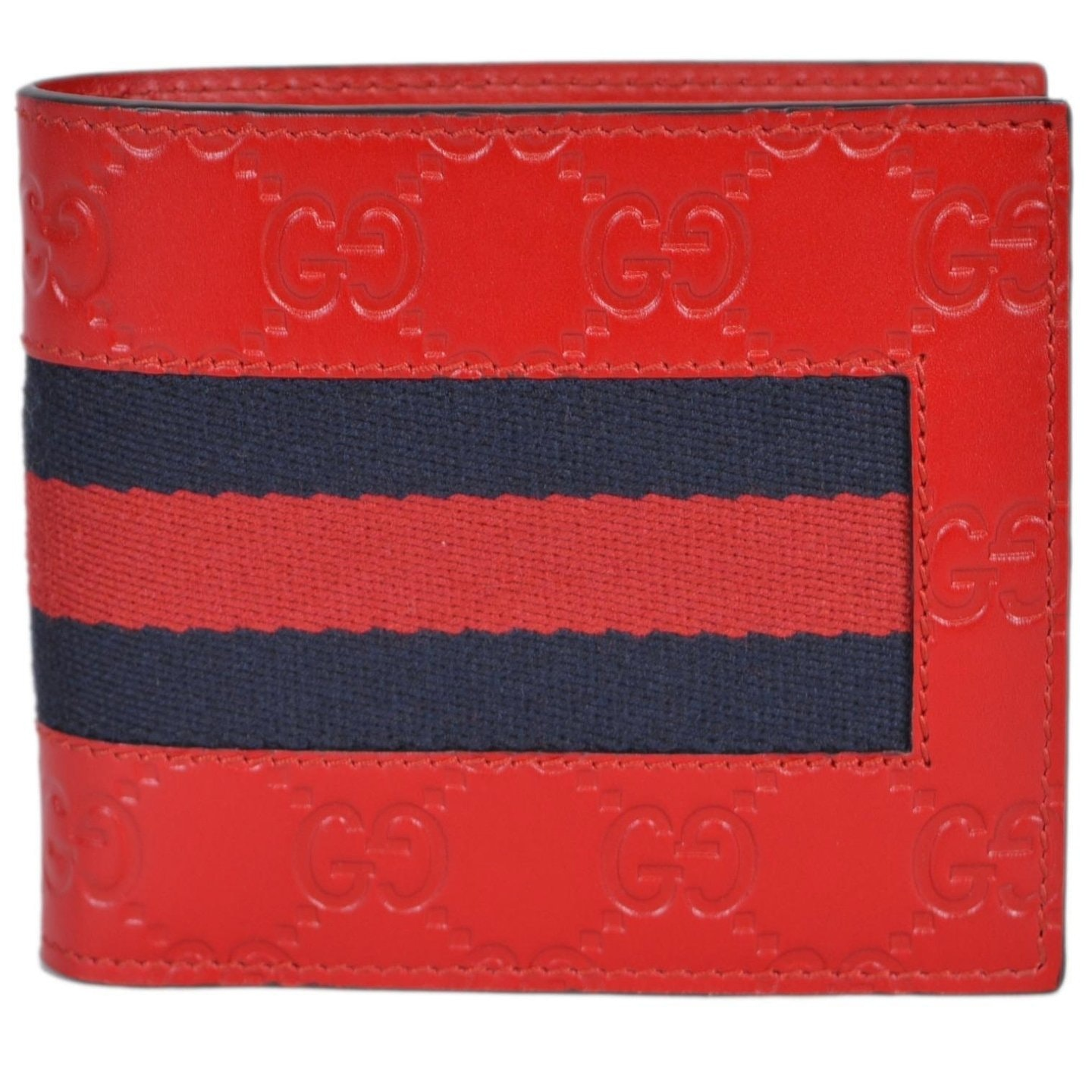 Gucci Coin Pouch Bifold Wallet Guccissima Web Hibiscus Red