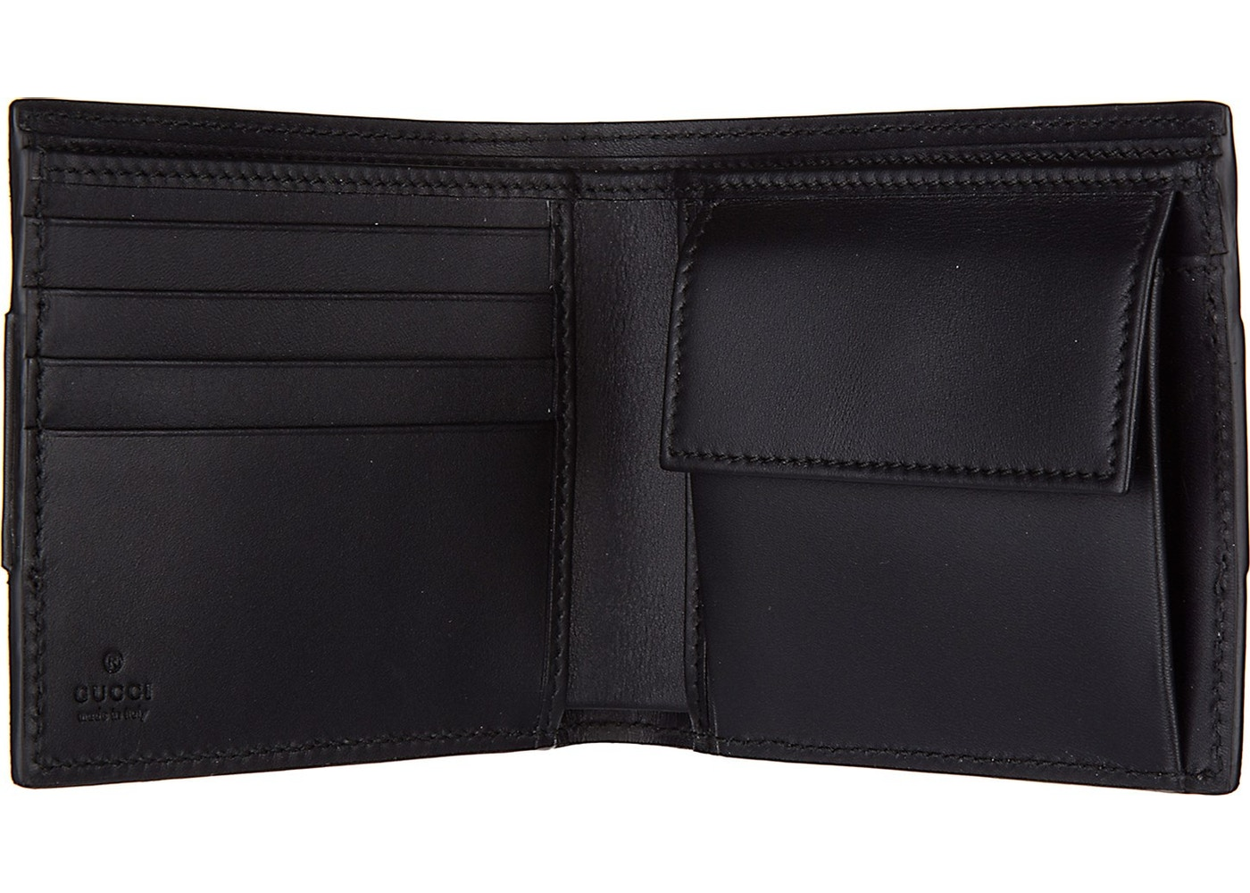 92b664173446a3 Gucci Coin Pouch Bifold Wallet Signature Web Stripe Black