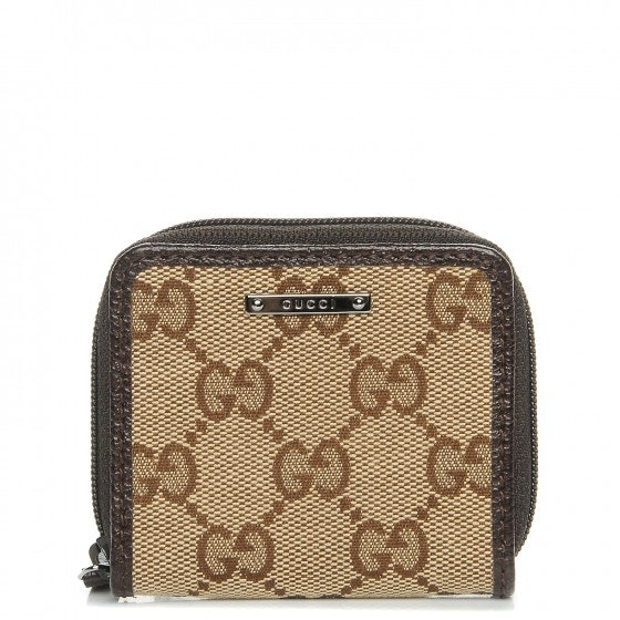 Gucci Zip Around Coin Purse Monogram GG Brown/Beige