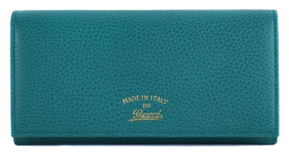 Gucci Continental Swing Flap Wallet Grained Calfskin Teal