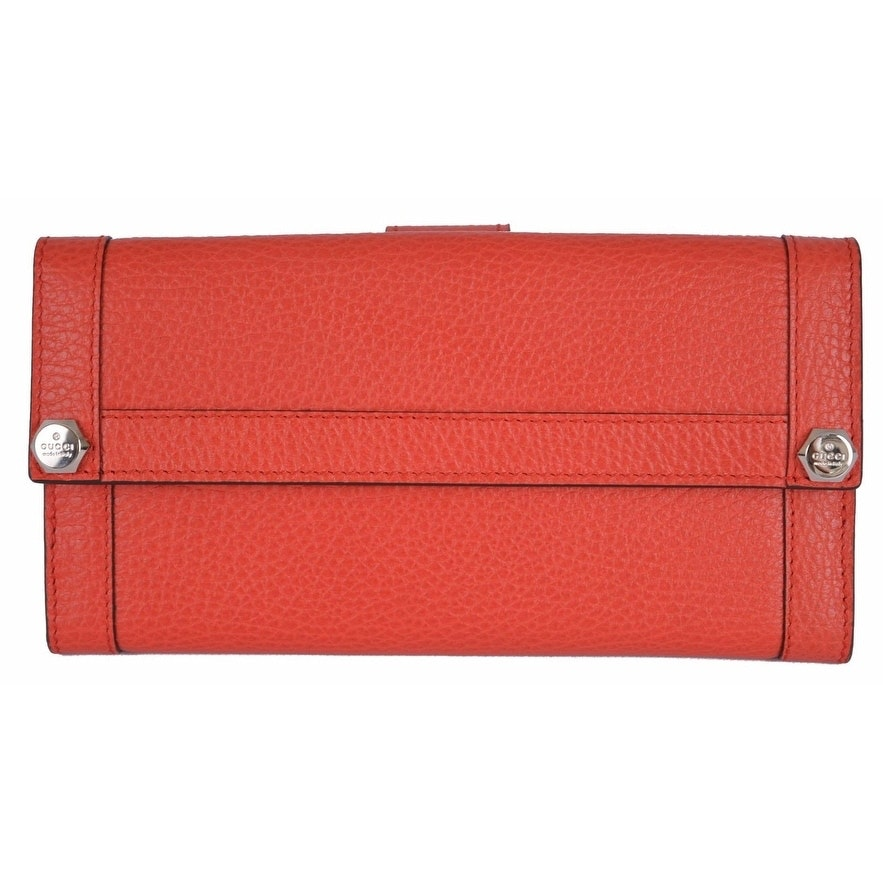 Gucci Continental Wallet Plaque Logo Leather Coral Red