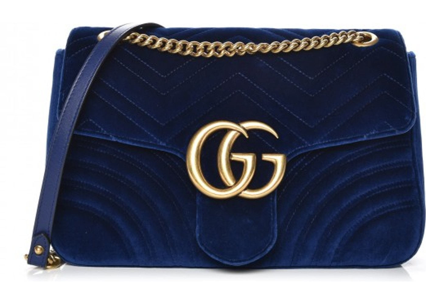 e7390067f3b9d1 Gucci Marmont Crossbody Matelasse GG Medium Cobalt Blue