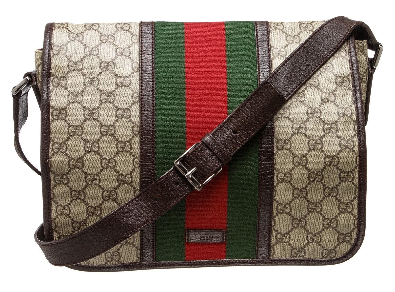 Gucci Messenger Crossbody GG Supreme Monogram Adjustable Shoulder Strap Brown/Green/Red