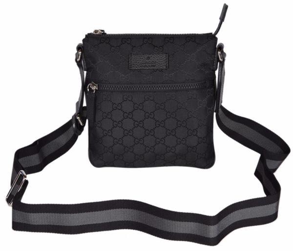 Gucci Messenger Crossbody Guccissima Monogram Adjustable Strap/ Web Detail Black
