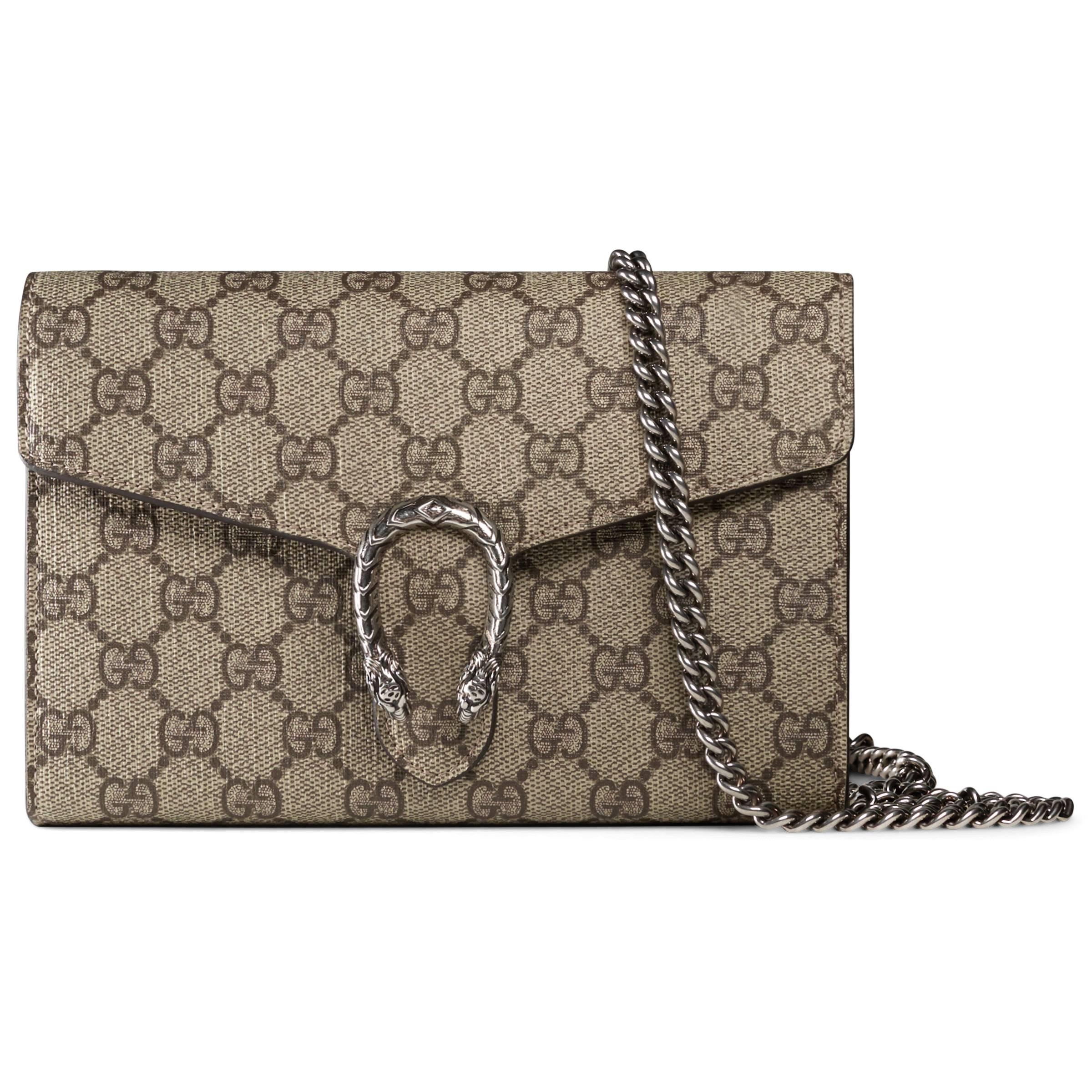 Gucci Dionysus Chain Wallet GG Supreme Beige/Ebony