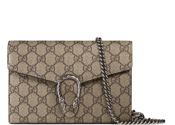 d8d0b2f046eb Gucci Dionysus Chain Wallet GG Supreme Beige/Ebony