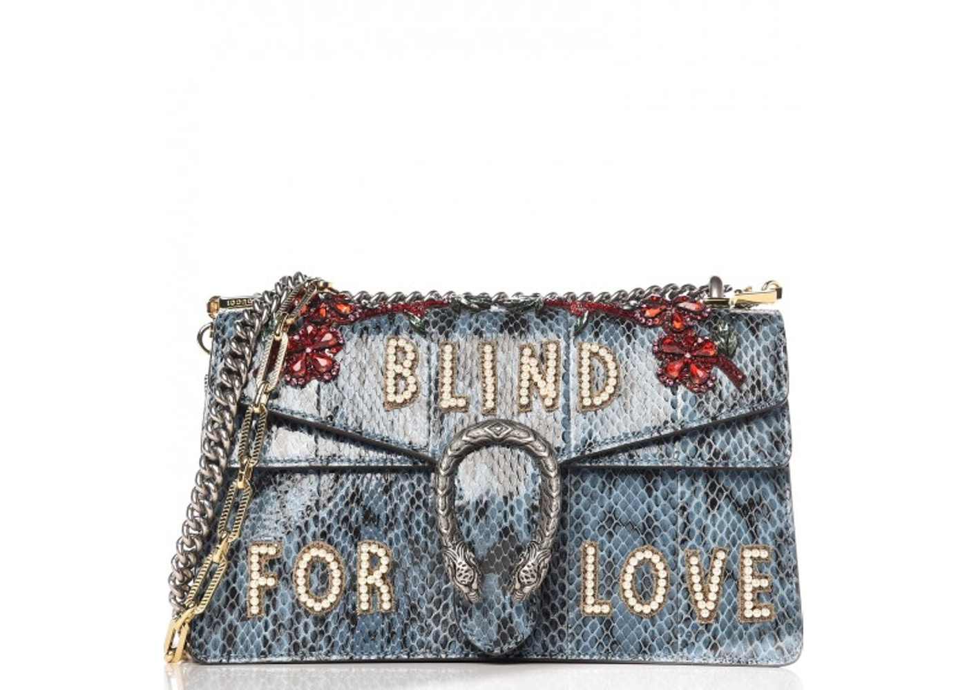 eabd581283e2c2 Gucci Dionysus Flap Blind For Love Embroidered Small Marine Blue