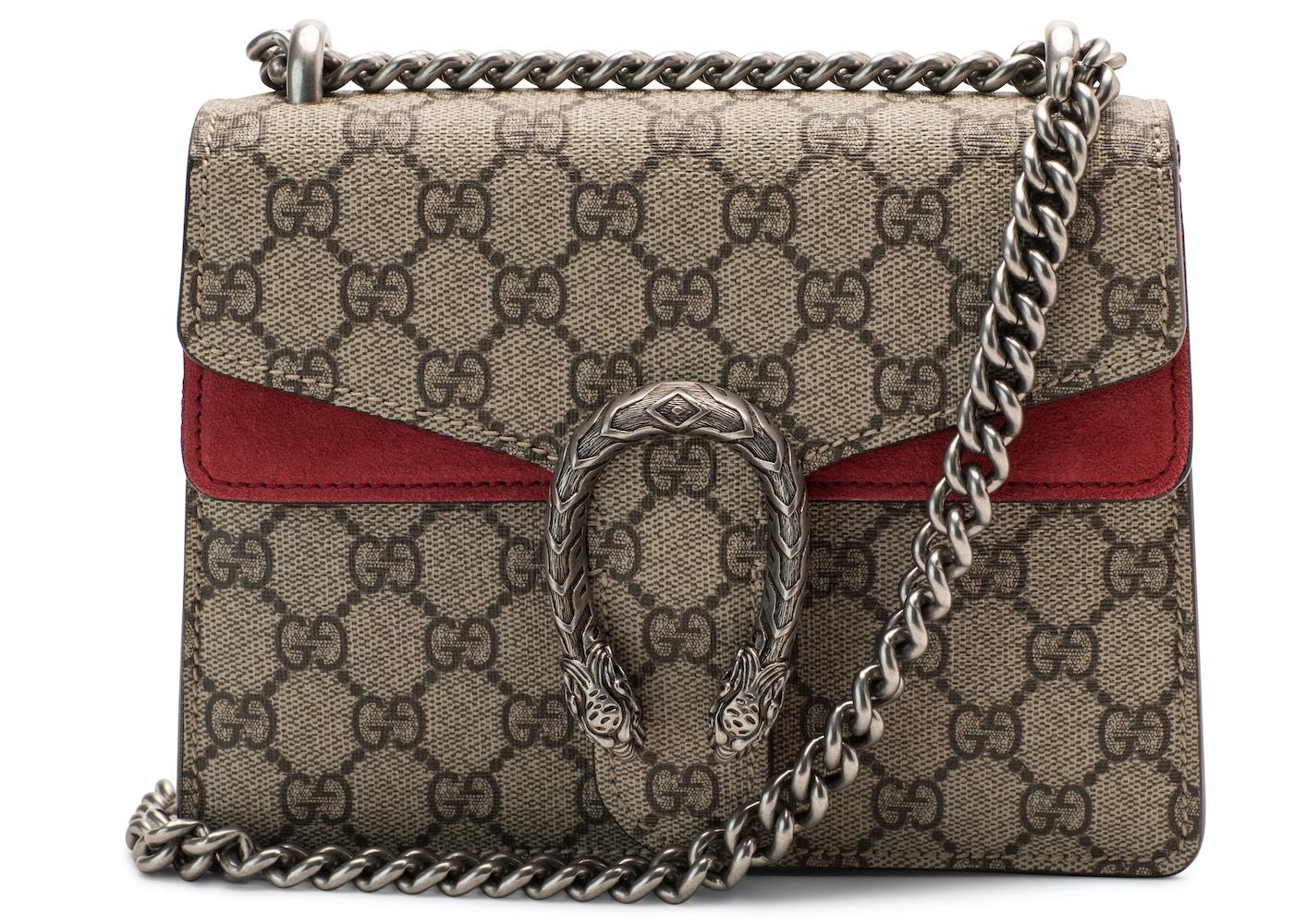 ff6769a7 Gucci Dionysus GG Supreme Suede Mini Red